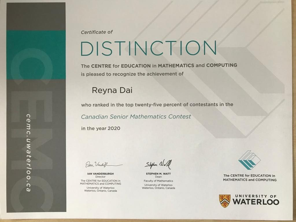 Reina Dai - Diploma - Math Contest - U. Waterloo