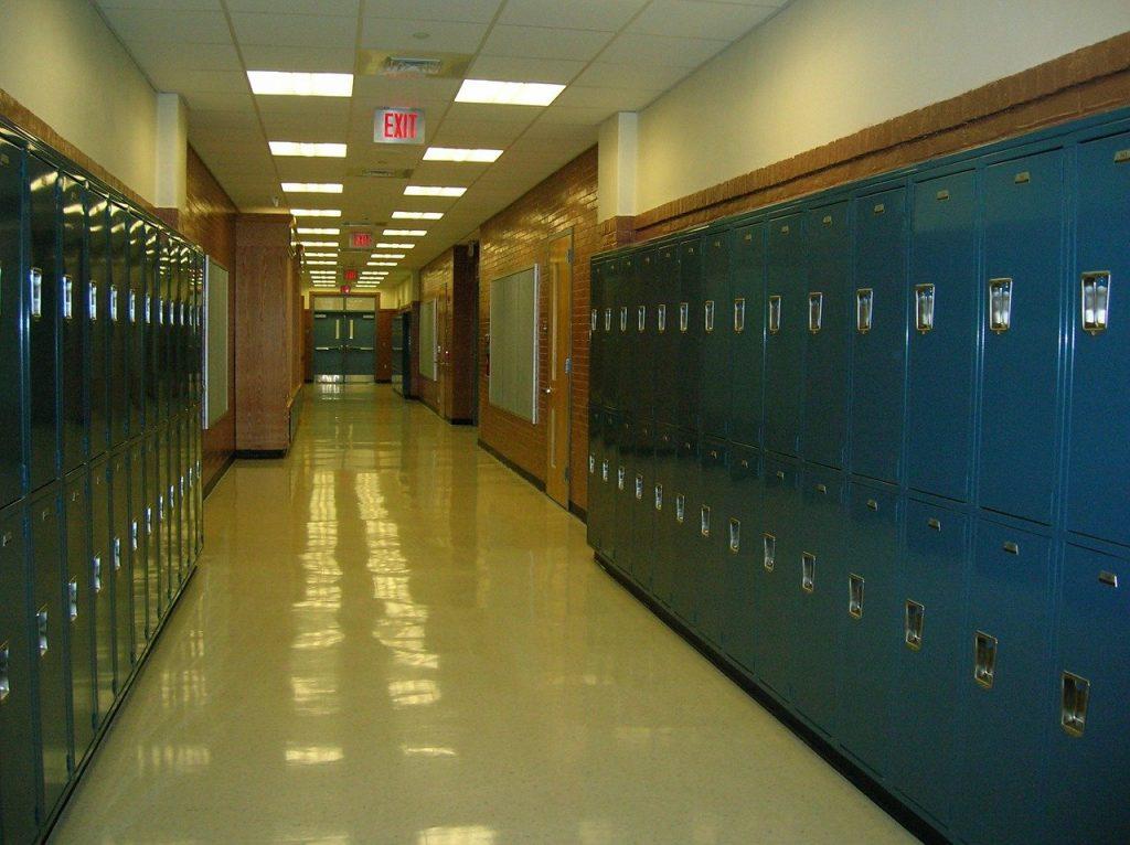 school, lockers, hallway